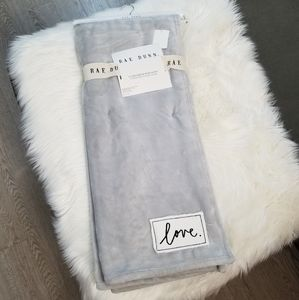 NEW Rae Dunn Grey Plush Throw LOVE